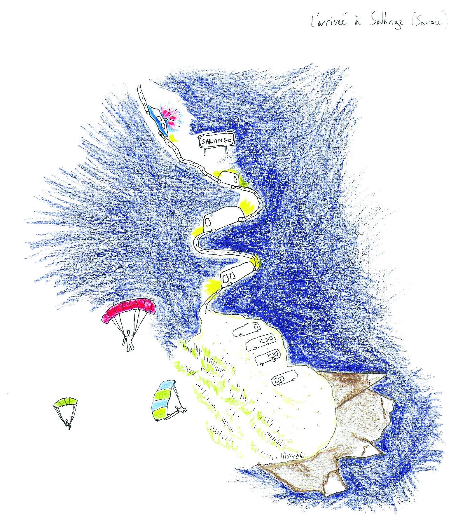 """L'arrivée à Sallange (Savoie). Une cartographie narrative réalisée dans le cadre de l'enquête-collecte """"Métiers et savoir-faire romani"""" en Europe et Méditerranée"""" au Mucem. Crédits : Elise Olmedo, Sasha Zanko, 2019."""